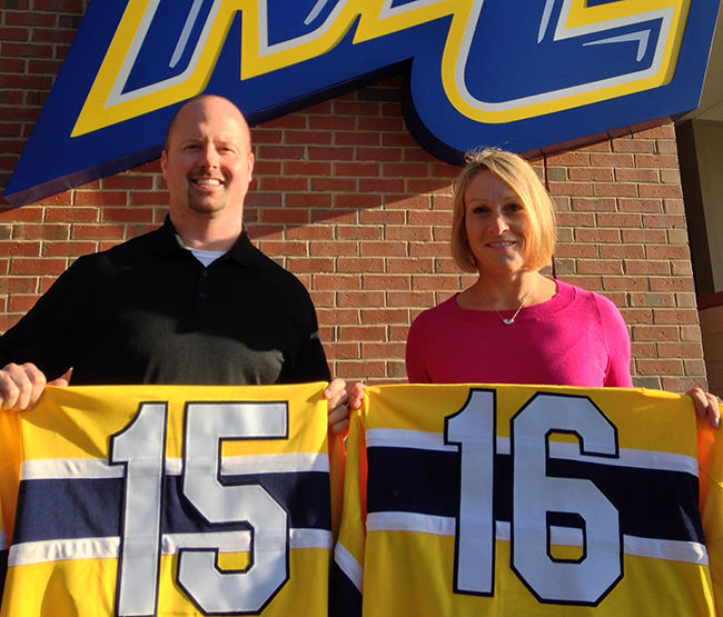 Inaugural assistant coach Brent Hill (left) and head coach Erin Hamlen outside the new Merrimack Athletics Complex